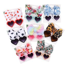 sunglasses for babies UK - Girls Hair Accessories Baby Headbands Head Bands For Children Kids Bows Bowknot Flower Leopard Love Sunglasses 2Pcs Sets B5147