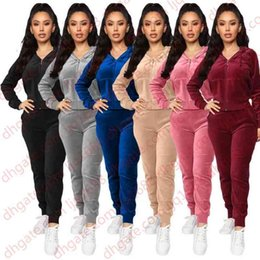 women velvet tracksuits NZ - Women Velvet tracksuits Hooded Sweatshirt Pants Running Sport Track suit 2 Pieces jogging sets femme clothing Four Different Models With Man