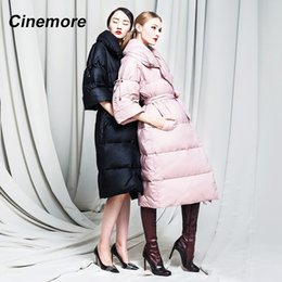 Wholesale long three quarter sleeve coat resale online - Cinemore Women s Down Jacket Winter Long Coat Three quarter Sleeves Temperament High quality Belt Women Coats Y w1659