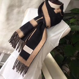 Top Quality Fashion Women cashmere Scarf Man Womens Winter thick Shawl Scarve Lattice Letters Scarves Styles Box Optional 180*35CM on Sale