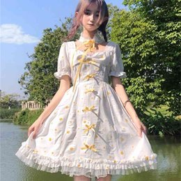 Wholesale cosplay lolita dress long sleeve for sale - Group buy Ladies Casual Dresses Japanese girls square arc flower Lolita summer white Long Sleeve Cosplay adult dress gown