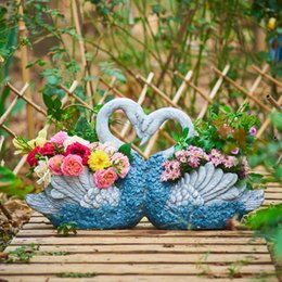Pastoral Potted Fleshy Green Couple Swan Cement Flower Pot Ornaments Courtyard Garden Figurines Crafts Outdoor Furnishing Decor on Sale
