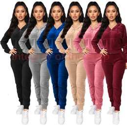 women velvet tracksuits NZ - Women Velvet tracksuits Hooded Sweatshirt Pants Running Sport Track suit 2 Pieces jogging sets femme clothing Four Different Models With