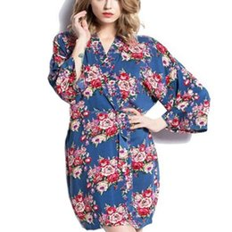 Wholesale womens pjs resale online - womens cotton floral Robe Ladies Pajama Lingerie Sleepwear Kimono Bath Gown pjs Nightgown