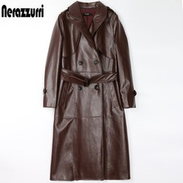 Wholesale leather sleeve trench coat resale online - Nerazzurri Black Faux Leather Trench Coat for Women Long Sleeve Belt Double Breasted Plus Size Womens Fall Fashion xl