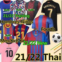 Wholesale 21 22 New Barca ANSU FATI soccer jerseys Training 2021 Messi GRIEZMANN F.DE JONG COUTINIHO Alba Braithwaite Men Kids kits football jersey