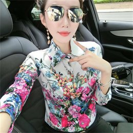 Wholesale long sleeve fall floral blouse for sale - Group buy Vintage Floral Women Luxury Shirts Spring Fall Long Sleeve Lapel Neck Printed Runway Ladies Designer Blouse Slim Office Button Shirt Tops