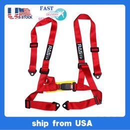 """US Stock 2"""" Universal 4PT 4 Point Racing Seat Belt Safety Harness Red Blue Black Yellow Gray LS-BAG032-TP"""