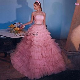 Discount women birthday party dresses Sweet Pink Puffy Tiered Tulle A-line Girl Dress Strapless Ruffles Princess Birthday Party Ruched Women Outfit Casual Dresses