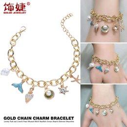 Wholesale Bracelet Fashionable Beach Ocean series starfish shell pearl Beaded