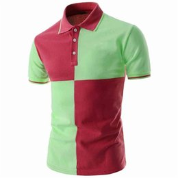 Wholesale green collar polo shirts men resale online - Polo Casual Fitness Wear Fashionable Green and Red Color Half Sleeves Down Collar T shirts for Men