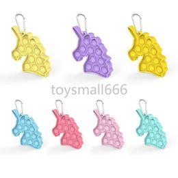 Hot Tiktok Unicorn Fidget Push Bubble Toy keychains decompression toy simple dimple Key ring anti-stress foam board on Sale
