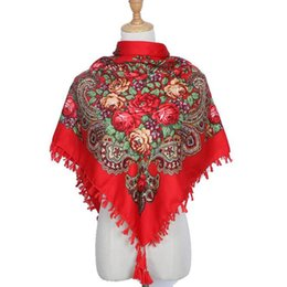 cotton fringed scarves NZ - Autumn And Winter Cotton Russian National Style Scarf Printed Women's Square Multifunctional Fringed Shawl Scarves