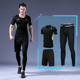 Wholesale cycling shops resale online - Tracksuits Men s Muscle strength vest fitness short sleeve sports suit elastic running sportswear online shop