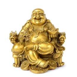 carved figures Australia - Opening light Maitreya copper Decoration living room decor study figure of Buddha wealth riches fortune statuette crafts 210414