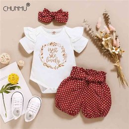 polka dot trench Canada - Infant born Baby Girls Summer Polka Dot Clothes Sets Short Sleeve Romper Elastic Shorts + Headdress 3Pcs Outdoor Outfits 210414