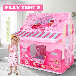 Wholesale ice castles resale online - Kids Play House Game Tent Toys Dinosaur Pink Ice Cream Boy Girl Princess Castle Portable Indoor Outdoor Children Play Tent House