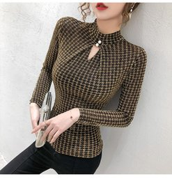 women shiny shirt Australia - Spring Summer Elastic Shiny Clothes Houndstooth T-shirt Sexy Hollow Out Women Tops Dunayskiy Bottoming Shirt Tees Women's