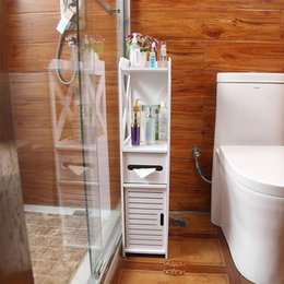 Floor Mounted Waterproof Toilet Side Cabinet PVC Bathroom Storage Rack Bedroom Kitchen Storage Shelves Home Bathroom Organizer T200413 on Sale