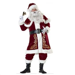 Wholesale superhero suits resale online - Christmas Santa Claus Costume Fancy Dress for Men Women Adult Suit Cosplay Party Bar Play Outfits For Adults New year clothes