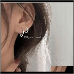 Discount beads for hoop earrings & Hie 925 Sterling Sier Piercing Crystal Round Bead Charm Hoop Earring For Women Party Wedding Earing Jewelry Eh777 D10As 29Lsw