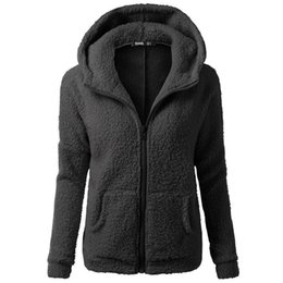 Wholesale sherpa jacket women resale online - Sherpa Hooded Coat Zipper Winter Women Sweatshirt Warm Wool Overcoat Casual Coral Fleece Outwear Long Sleeve Plus Size Jacket