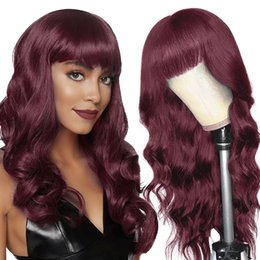 Discount brazilian body wave hair burgundy 99J Burgundy Wavy Brazilian Virgin Human Hair Wig With Bangs For Black Women 150% Density Wine Red Body Wave Non Lace Front Glueless Natural Wigs