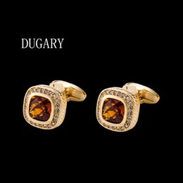 golden cuff links Australia - DUGARY Luxury shirt cufflinks for mens Brand cuff buttons cuff links gemelos High Quality Golden crystal abotoaduras Jewelry