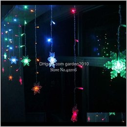 snowflake lighted curtain 2021 - Decorations Yimia 35M Snowflake Led Curtain Icicle Fairy String Christmas Holiday Lights Garlands Year Wedding Party Decoration 201203 Vv3I1