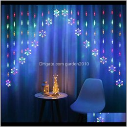 Discount snowflake lighted curtain Decorations Colorful Snowflake Curtain Led Fairy String Lights Garland Christmas Decoration For Holiday Lighting Wedding Party Decorat Mnrq8