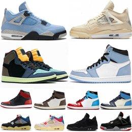 venda por atacado 1 1S Travis Scotts Obsidian Shoes Universidade Universidade Blue Twist Que The Mens Basketball Shoe Preto Gato Criado 4 4s Sail Guava Gelo Gelo Sneakers