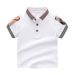 Wholesale Retail Summer Baby Boys Girls T-shirts Cotton Kids Clothing Short Sleeve T Shirt High Quality Children Turn-down Collar Plaid T-shirt