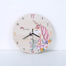 hanging calendar UK - Fashion Horse Flower Wall Clock Living Room Bedroom Hanging Table Silent Quartz Mute Children Room Cartoon Wall Clock Home Decor 210401