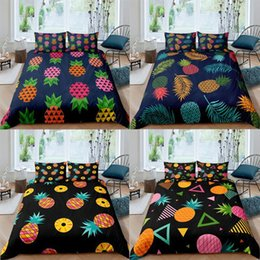 teen twin bedding sets Australia - Nordic Black Pineapples Bedding Set Single Twin Fruit Bed Linen Duvet Cover Teens Quilt Pillowcase 2 3 Piece Girl Gift Sets