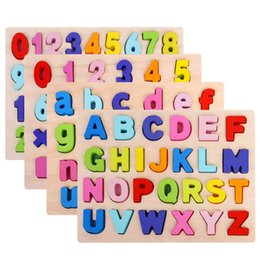 Discount letters puzzle ABC Puzzle Digital Wooden Toys Early Learning Jigsaw Letter Alphabet Number Puzzle Preschool Educational Baby Toys for Children 210330
