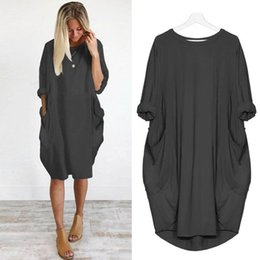 girls dresses midi NZ - Plus Size 5XL Autumn Womens dresses Pocket Loose Dress Ladies Crew Neck Casual Long girl Tops female fashion big vestido