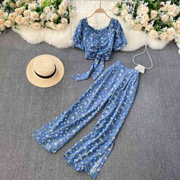 Discount low waist sexy legging pants SINGREINY Women Autumn Bohemian Floral Set V Neck Puff Sleeve Short Top+Sexy Split High Waist Wide Leg Long Pants Two Pieces Set 210414