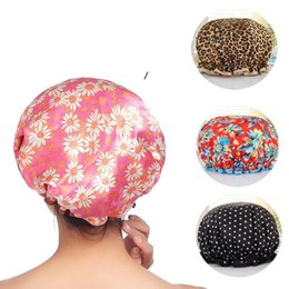 eco friendly shampoo Canada - Fashion Leopard Printing Shower Cap Adult Double Environmental Protection PEVA Waterproof Shampoo Caps Bathroom Supplies 9 Styles NHA4850