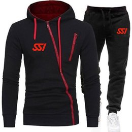 Wholesale oblique zipper hoodie for sale – custom Men s Tracksuits Spring Men Suits Scuba Schools International Logo SSI Print Customizable Oblique Zipper Hoodie Tops Leisure Sets Selling