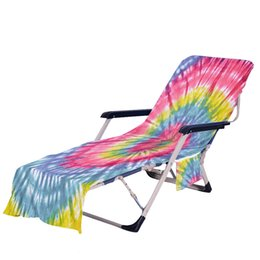 Wholesale pools cover for sale - Group buy Tie Dye Beach Chair Cover with Side Pocket Colorful Chaise Lounge Towel Covers for Sun Lounger Pool Sunbathing Garden OOD5811