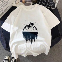 Discount forest shirt Womens T Shirts shirt Dark forest Print letter universe faith Harajuku Women O neck Short Sleeve White Tops Female Clothing