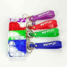 stress chain UK - Push Bubble Pop It Poppers Fidget Toys Simple Dimple Keychain Key Chain Anti Stress Board Game Reliever Ball Decompression Toy BWB6361