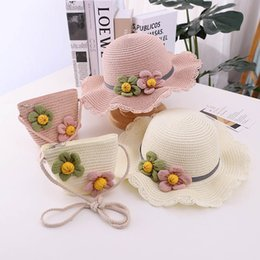 Wholesale white girl braids resale online - Girls Caps Kids Hats Bucket Wide Brim Straw Hat Accessories Grass Braid Flower Bags Purses Beach Summer Sun Sets Y B5000