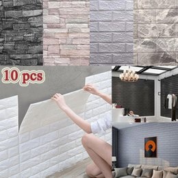 pc wallpapers UK - 10 Pcs 3D Wall Stickers Self-Adhesive Tile Waterproof Foam Panel Living Room TV Background Protection Baby Wallpaper 38*35cmGFUL I4YE