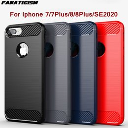 Wholesale iphone8 cases resale online - Shockproof Brushed Carbon Fiber Armour Rubber Soft TPU Cases For IPhone7 IPhone8 Plus Plus Iphone SE2020 Phone Cover Shell