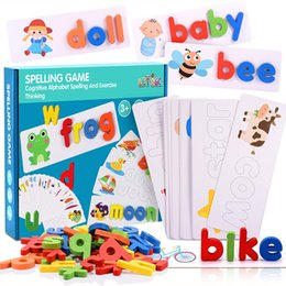 Discount spelling puzzle DIY Spelling Word Game Wooden Toys Early Education Puzzle Letter Spelling Preschool Children Enlightenment Education Baby Toys