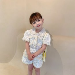 Wholesale white military suit resale online - INS Summer Girls Set Blouse Shorts Kids Suit Children Clothes Fashion Floral Embroidery White Mesh Lace Soft