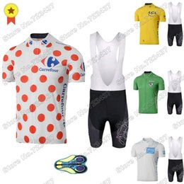 Discount france white jersey France Tour Leader Cycling Jersey Set Yellow Green White Polka Dot Clothing De Road Bike Shirts Suit MTB Maillot Racing Sets