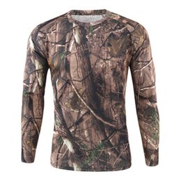 wholesale designers clothes UK - Tops TShirt Hunting Shirt Fast Camo Dry Casual Sport Tactical O Neck Clothing Designer Men Camouflage Long Sle