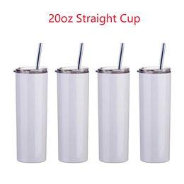 米国ストック20オンス昇華マグストレートタンブラーブランクホワイト304ステンレススチール製真空断熱スリムDIY 20オンスカップカーコーヒーマグ